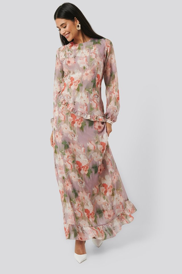 Flower Printed Midi Dress Outfit.