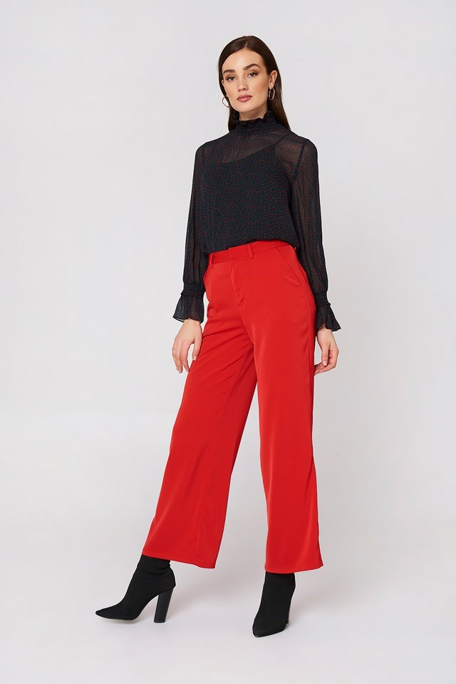 High Neckline Blouse with Wide Leg Trousers