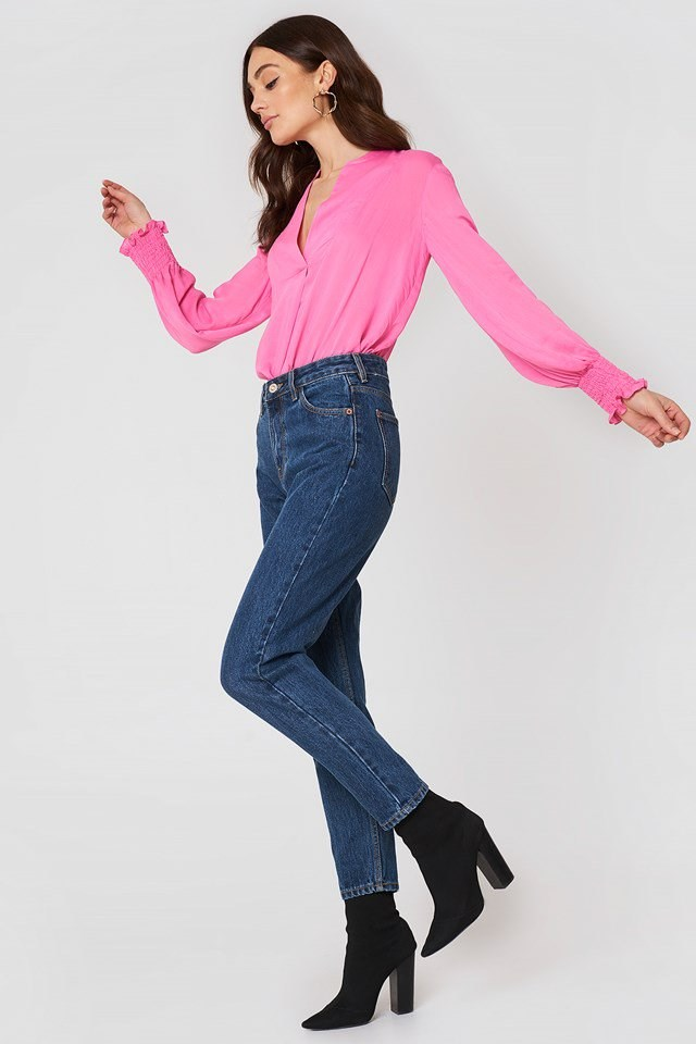 Ruched Sleeve Blouse with Jeans