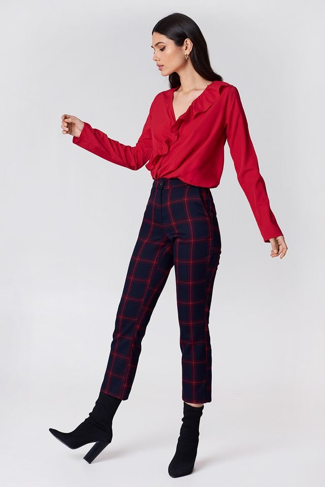 Asymmetric Frill Blouse with Checkered Pants