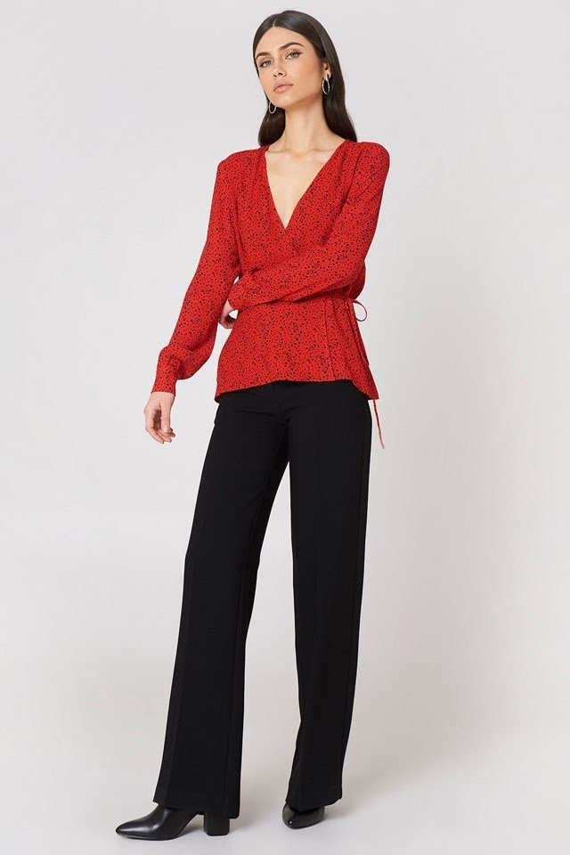 Tie Waist Blouse with Wide Trousers