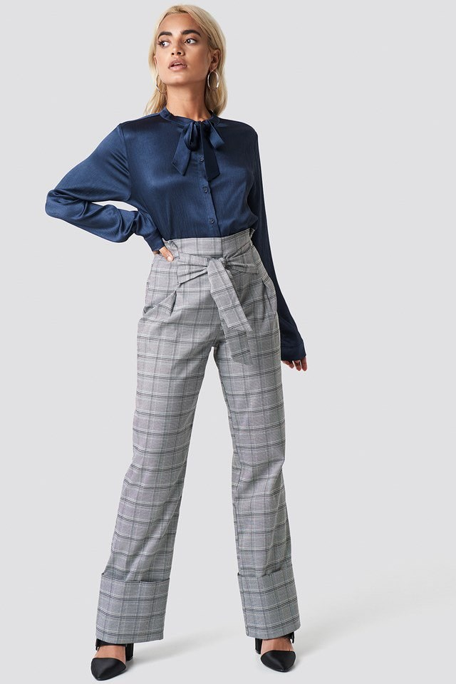 Knot Blouse with Tie Waist Pants