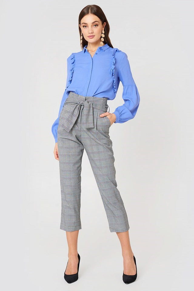 Ruffle Trimmed Shirt with Tie Waist Pants