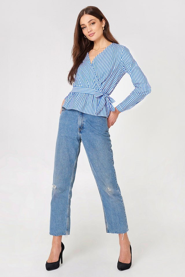 Wrap Over Tie Top with Jeans