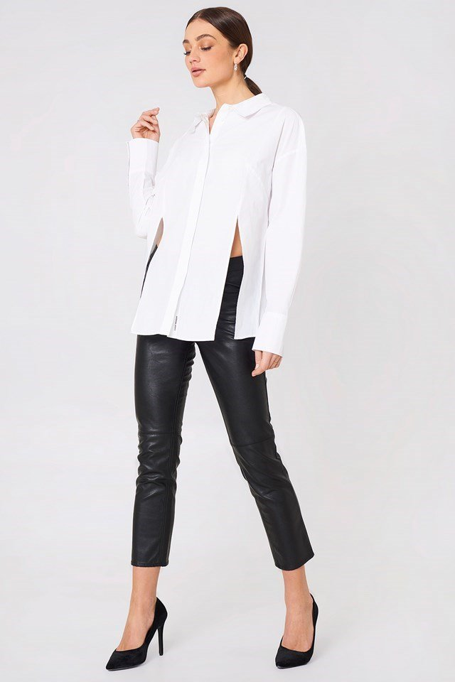 Slit Shirt with Leather-like Pants