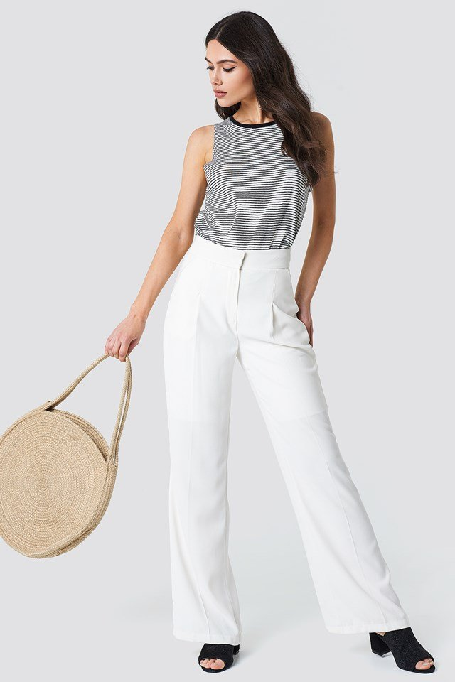 Striped Top with White Trousers