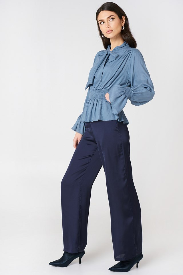 Shirred Detail Shirt with Loose Trousers
