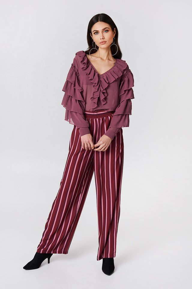 Chiffon Frill Blouse with Striped Pants
