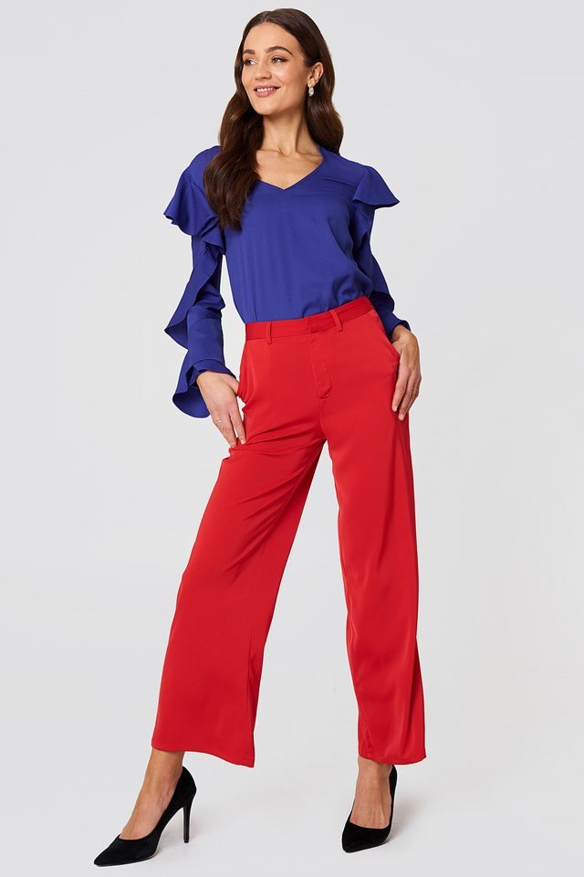 V Neck Frill Blouse with Wide Leg