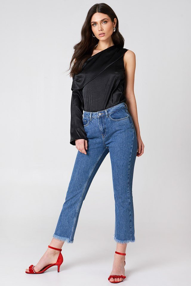 One Shoulder Blouse with Jeans