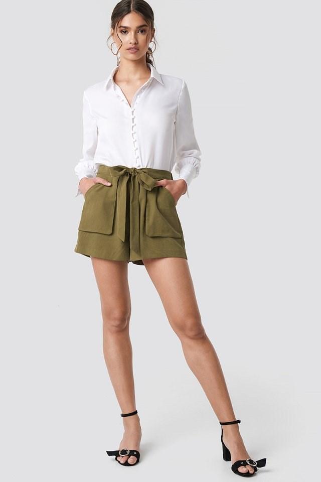 Self-tie Detail Shorts