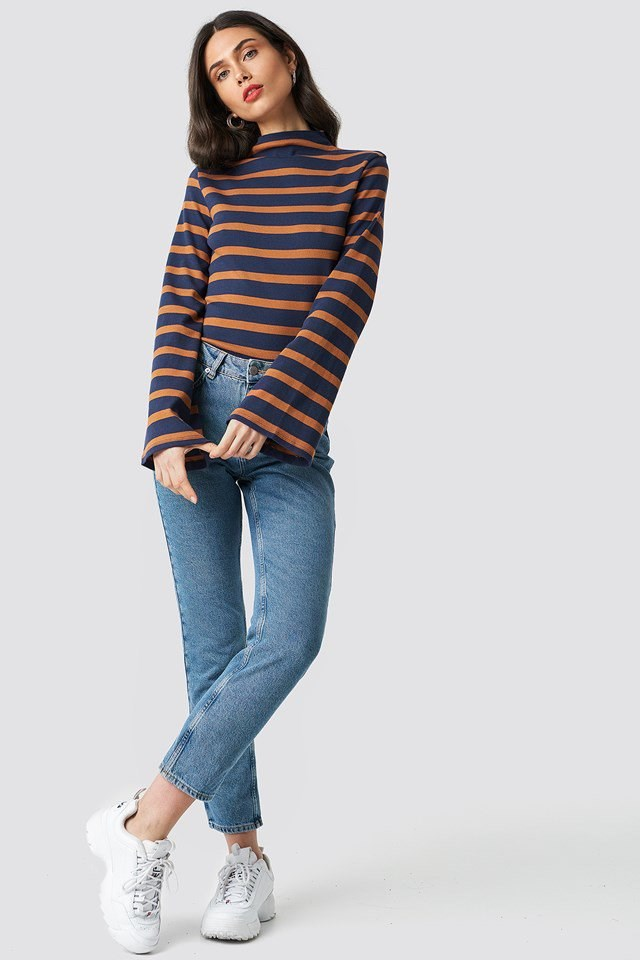Turtle Neck Striped Top Outfit