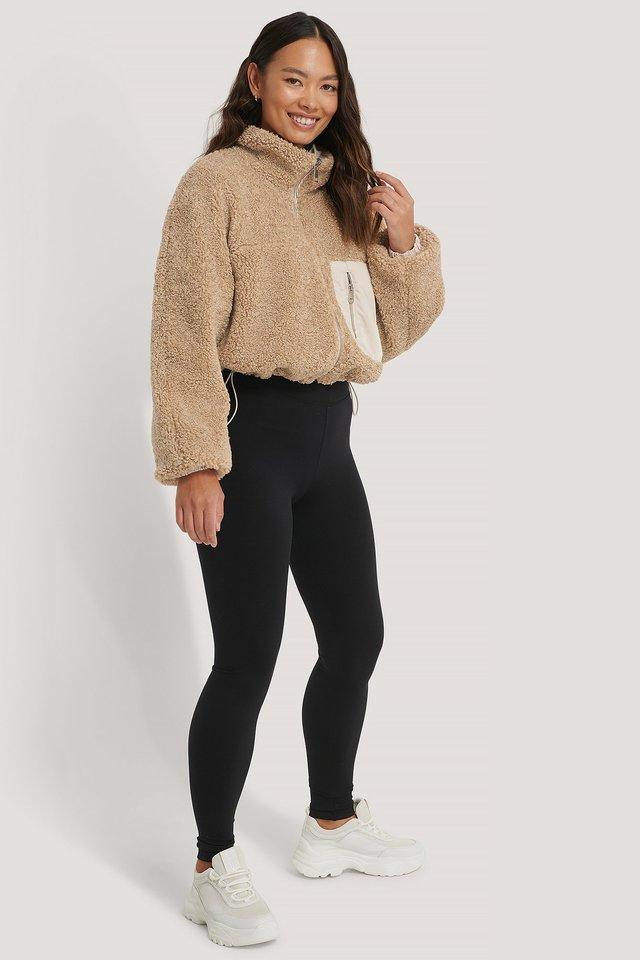 Big Pocket Padded Short Jacket Beige   na-kd.com