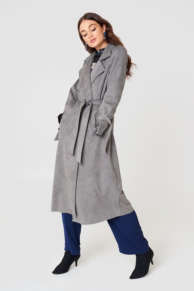Faux Suede Trenchcoat