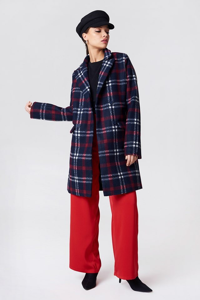 Checked Short Coat