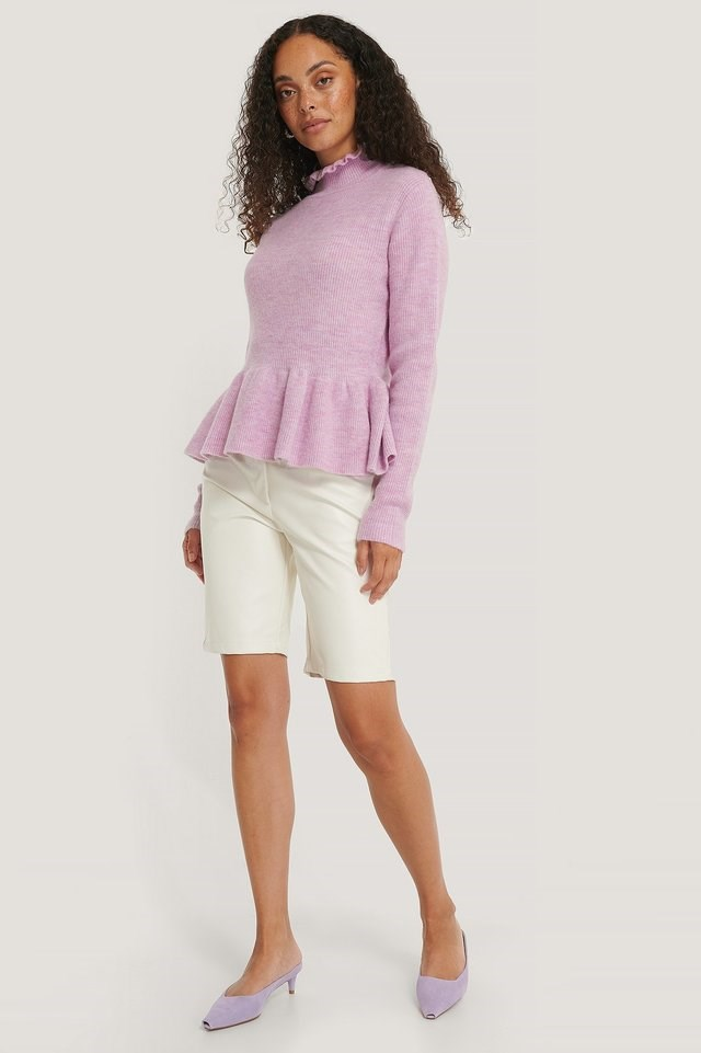 Frill Detailed Knitted Sweater Outfit.