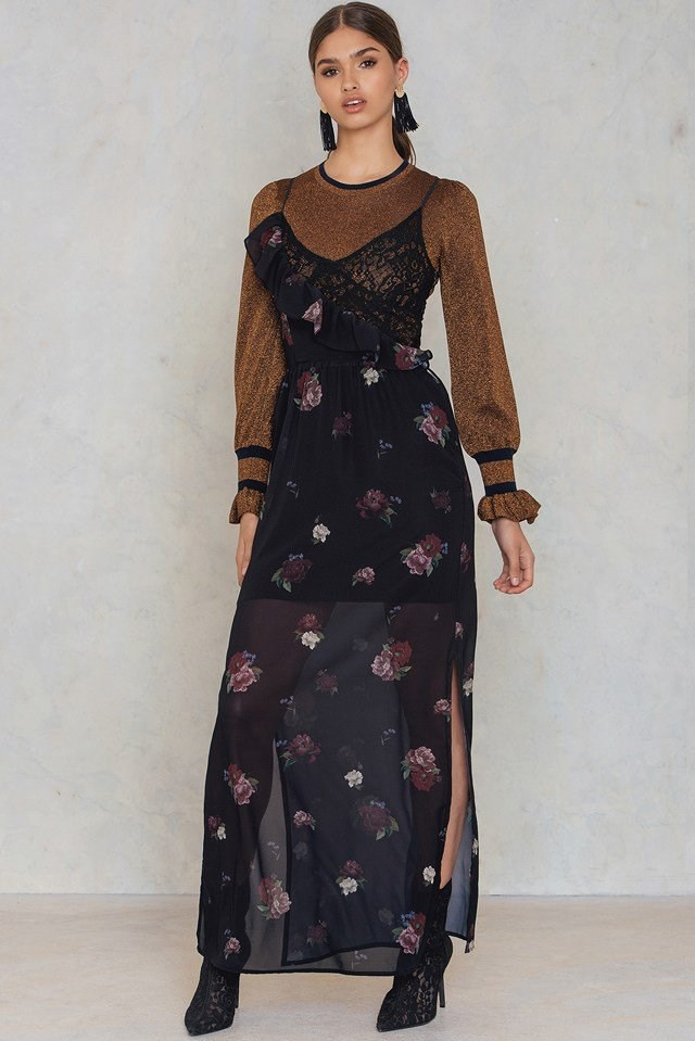 Frill Lace Maxi Dress
