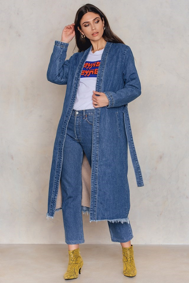 Denim Teddy Coat Outfit