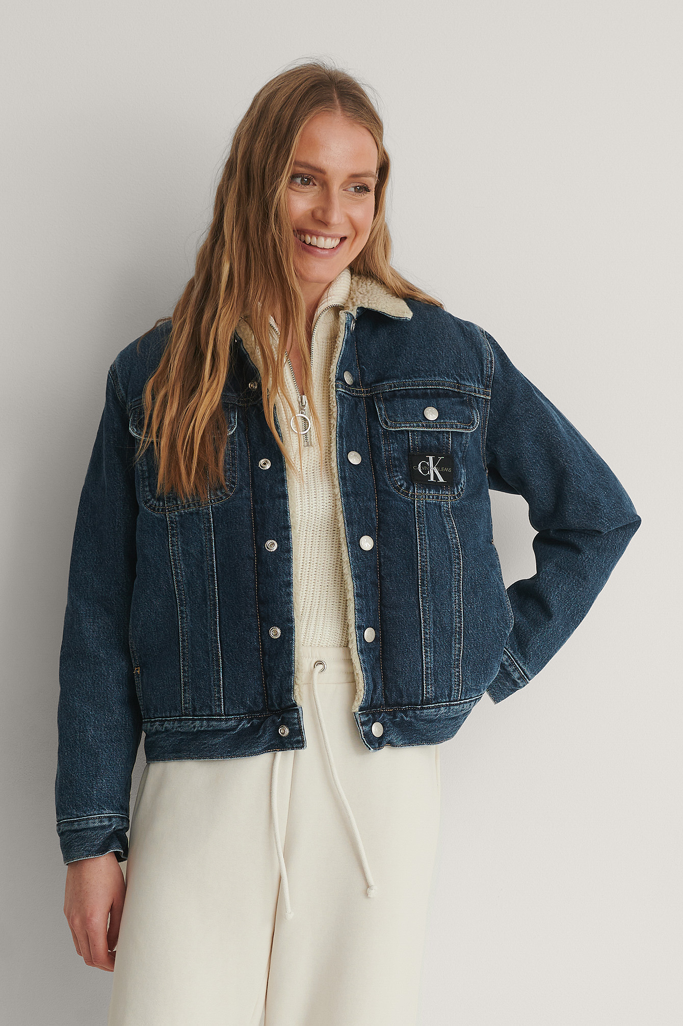 Sherpa 90s Denim Jacket Outfit.