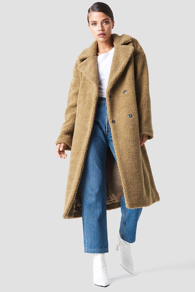 Big Collar Teddy Coat Marron | na