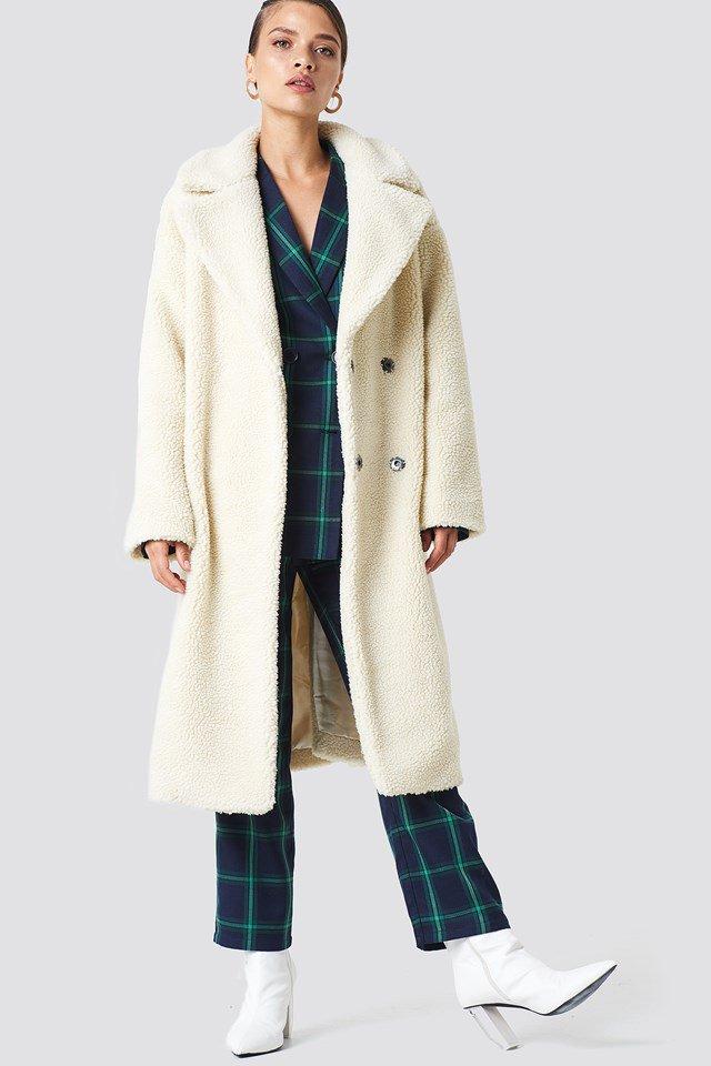 Big Collar Teddy Coat Blanc | na