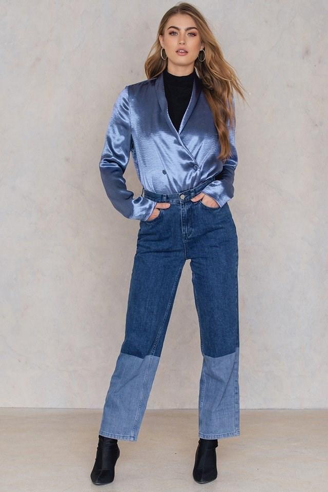 Metallic Blazer with Mom Jeans