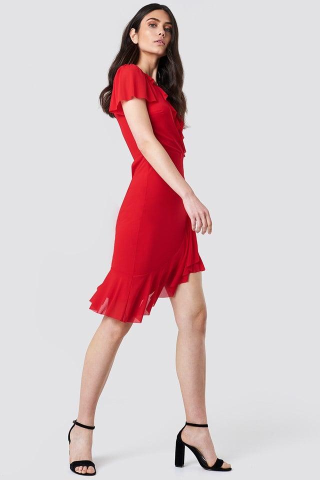 Red Ruffle Mini Dress