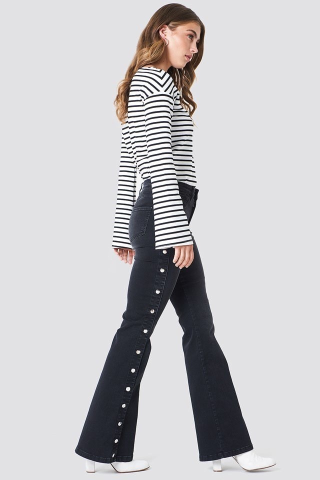 Button Up Flared Jeans