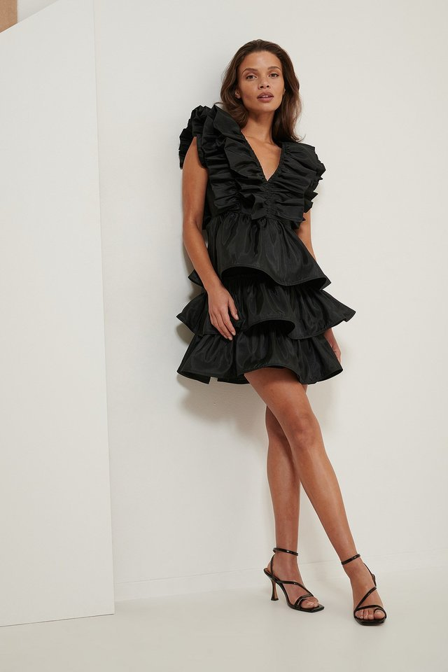 Volume Ruffle Dress Outfit.