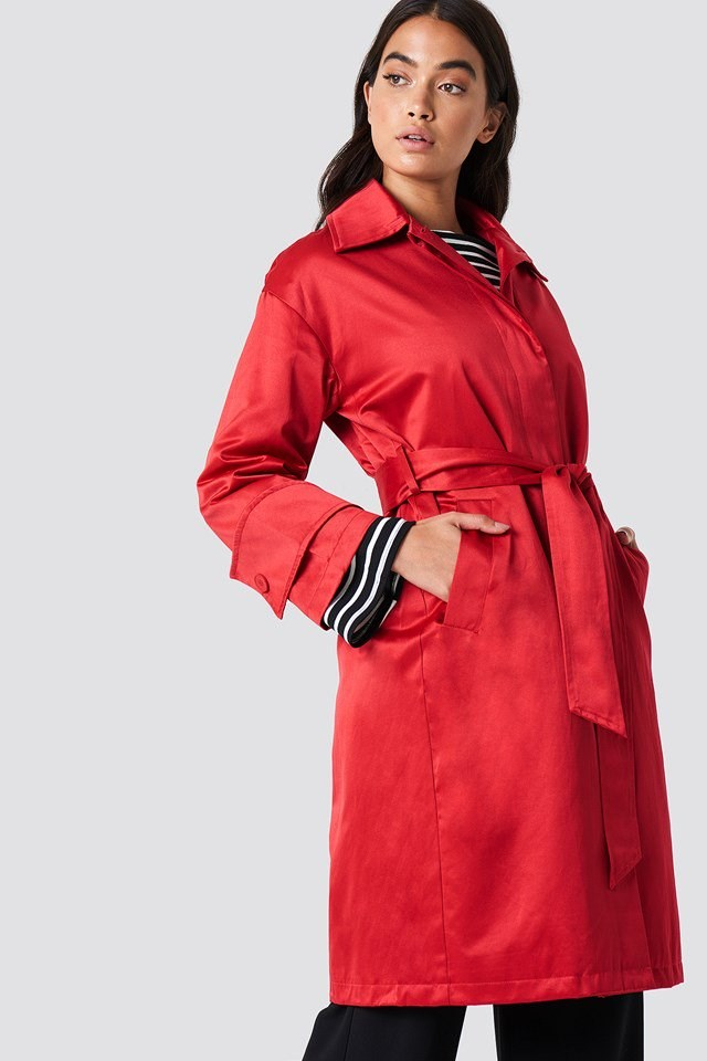 Red Coat with Striped Shirt Outfit