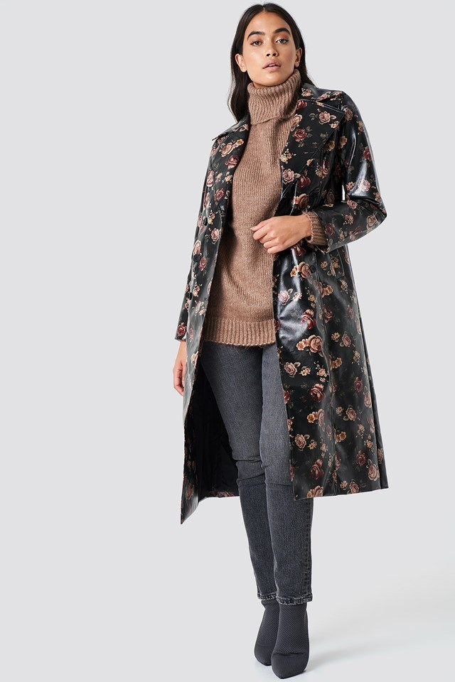 Floral Trench Coat Outfit