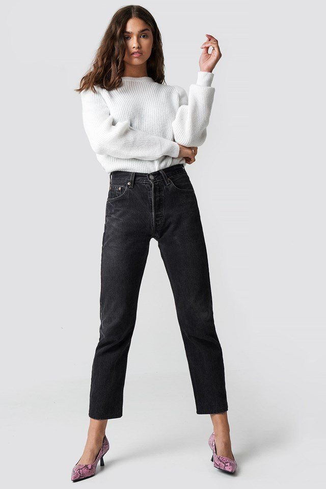 White Knitted Sweater with Black Jean