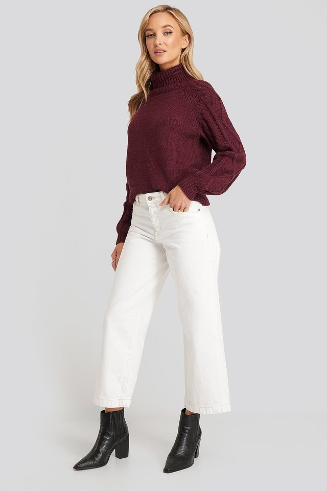 Culotte Jeans White Outfit.