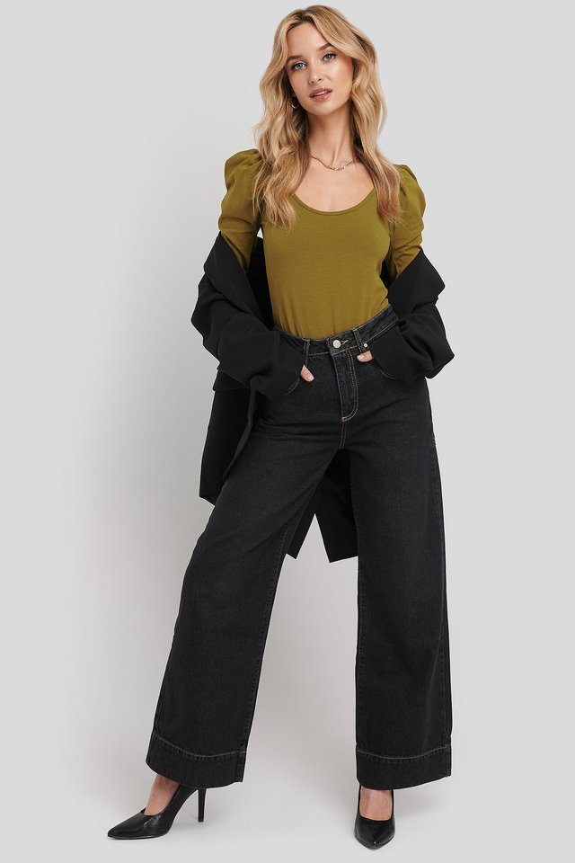 Stitching High Waist Wide Leg Jeans Black Outfit.