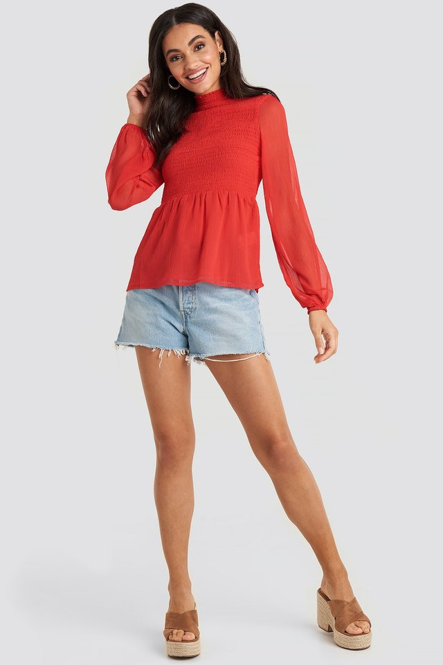 Shirred High Neck Blouse Outfit.