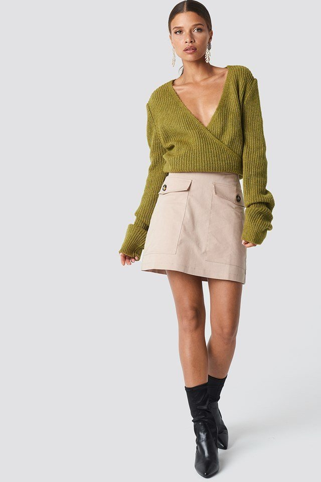 Casual Knitted Sweater and Skirt Outfit