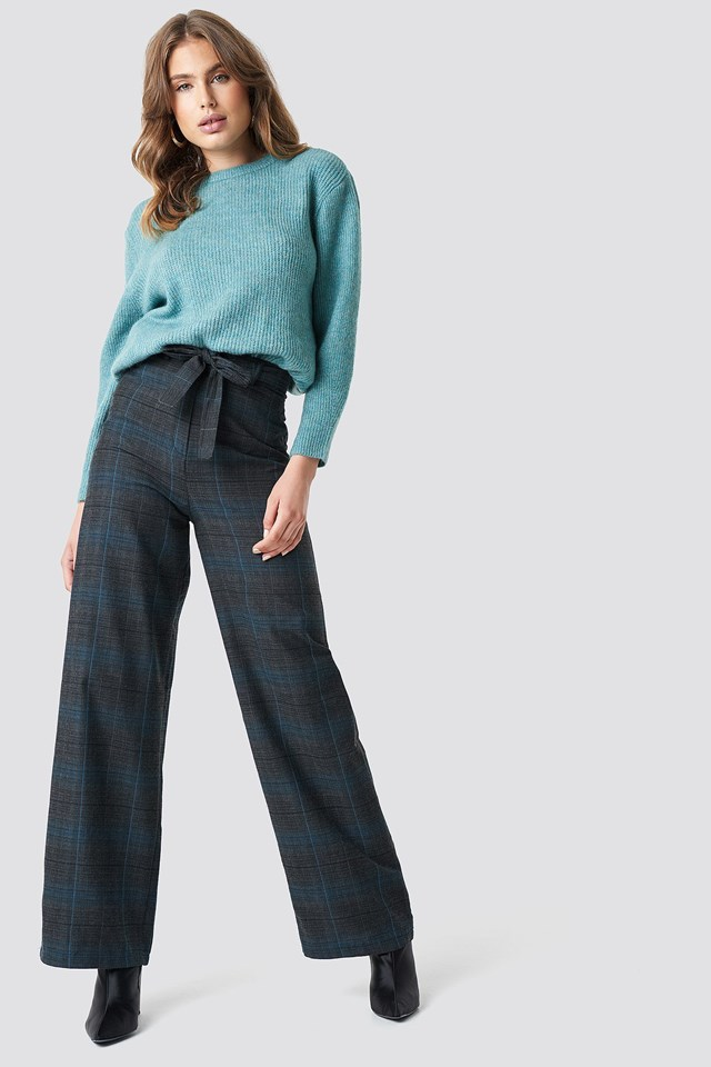 Checkered Wide Pants Knit Outfit.