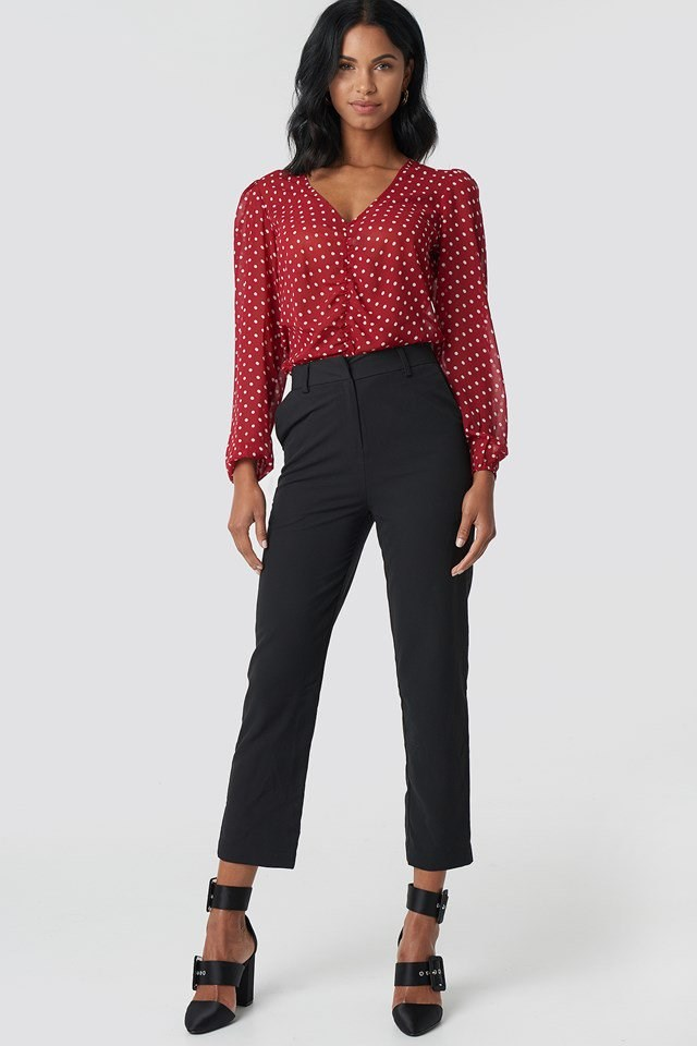 Straight Pants with Gathered Front Blouse