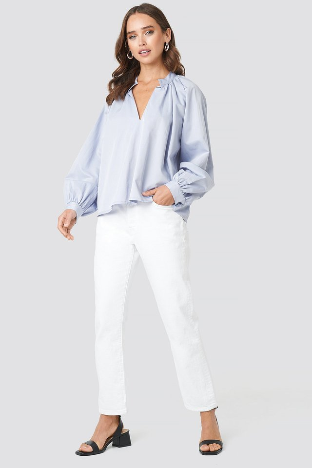 V-Neck Balloon Sleeve Blouse Outfit.