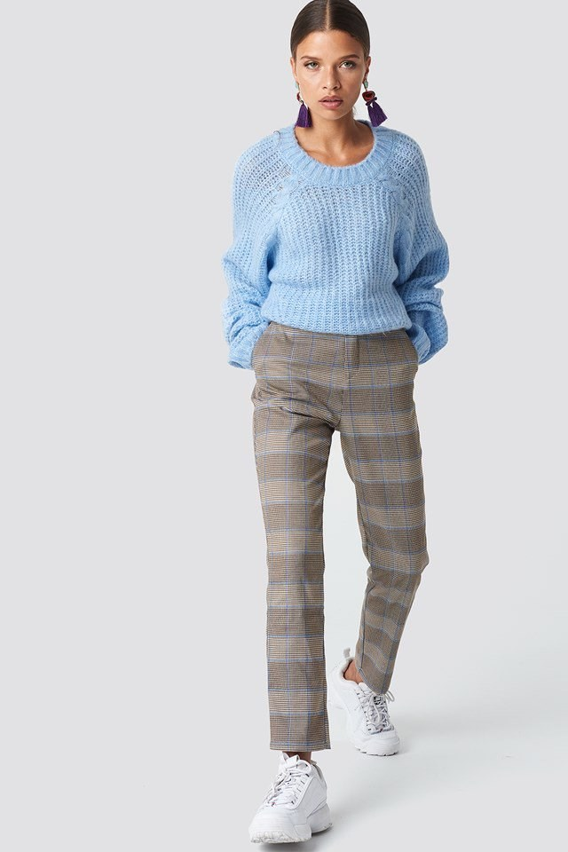 Casual Blue Sweater and Checkered Pants Outfit
