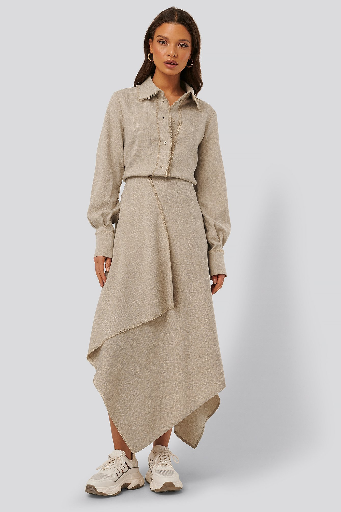 Beige Raw Edge Asymmetric Skirt