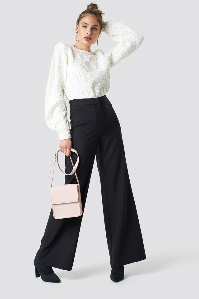 Loose Leg Pants with Weave Detailed Sweater