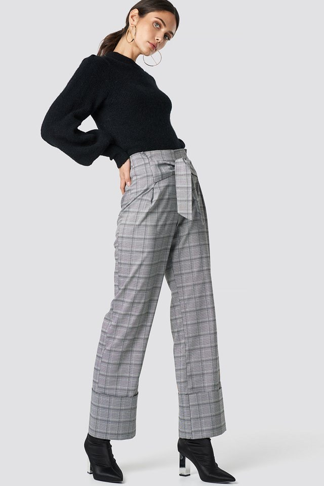Classic Sweater with Checkered Pants Outfit