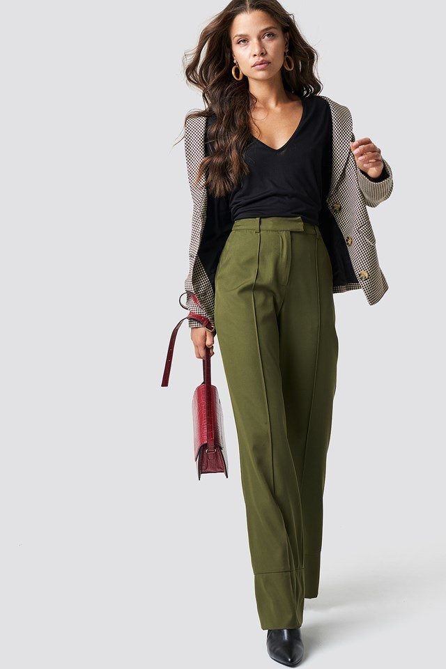 Fold Up Flared Pants with Blazer