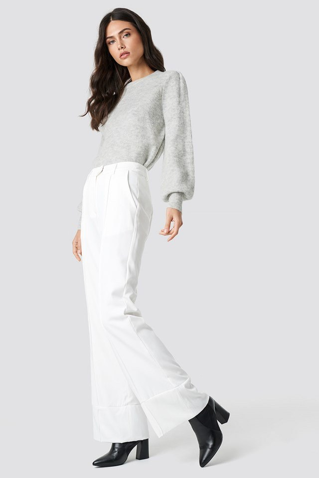 Classic Grey Wool Sweater and White Trouser Outfit