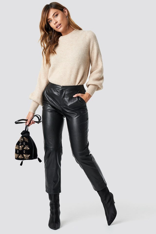 Modern Leather and Sweater Look