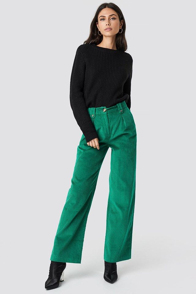 Open Back Knit and Corduroy Trousers