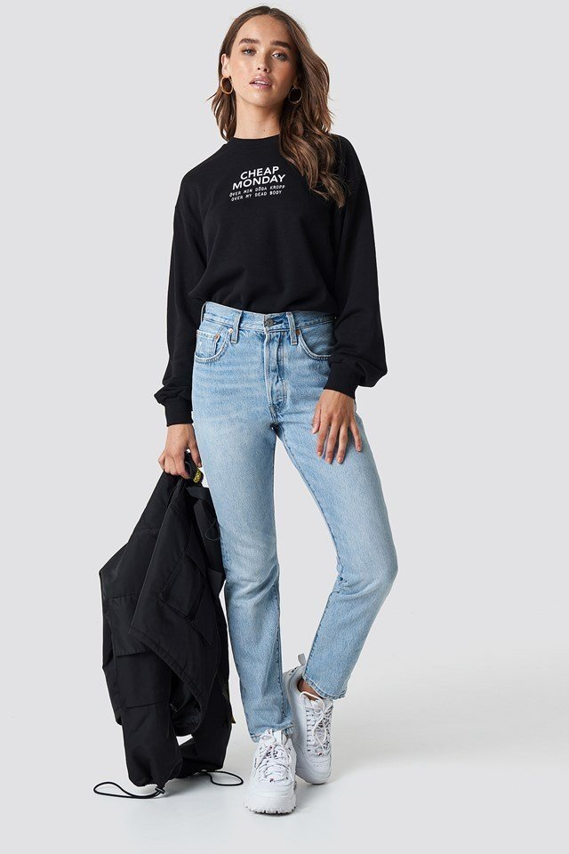 Casual Denim Pants and Statement Sweatshirt Outfit