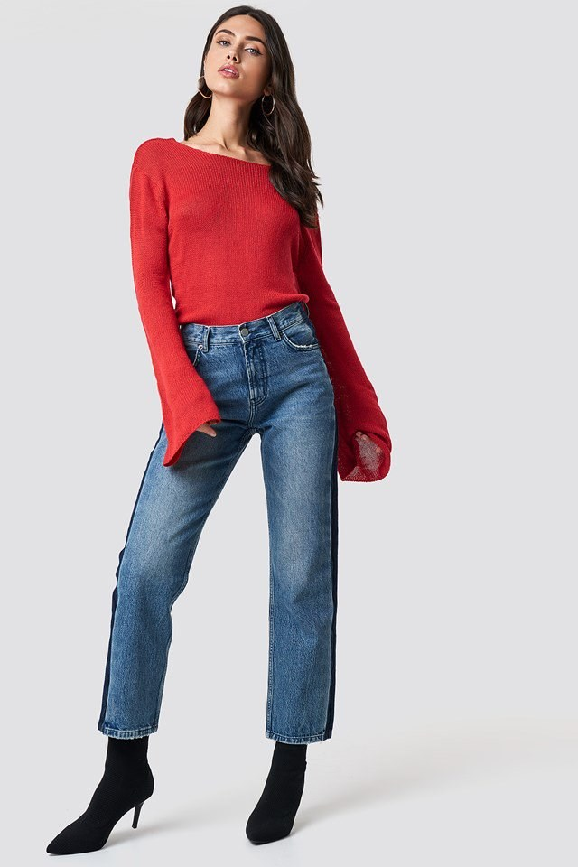 Red Knit and Denim Outfit