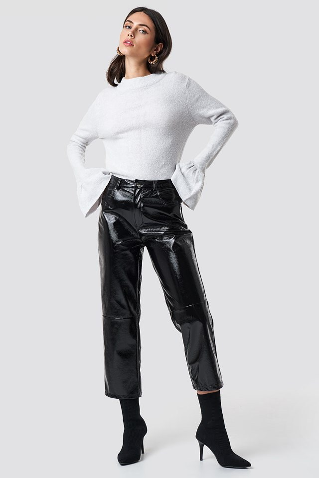 Trumpet Sleeve Knit and PU Leather Outfit